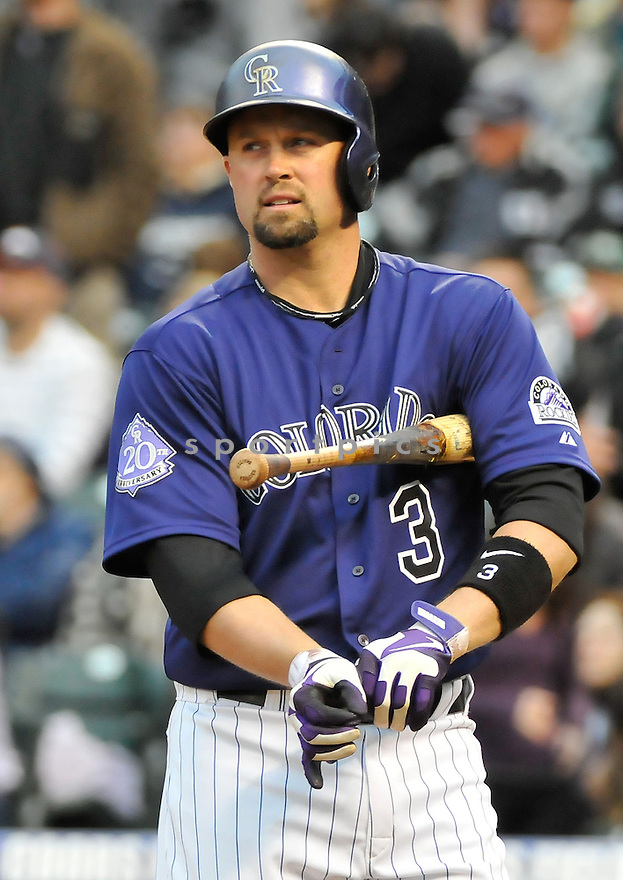 Colorado Rockies Michael Cuddyer (3) during a game against the Tampa Bay Rays on May 4, 2013 at Coors Field in Denver, CO. The Rockies beat the Rays 9-3.