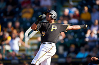 Pittsburgh Pirates first baseman Edwin Espinal (79) hits a game-winning three-run home during a Spring Training game against the Tampa Bay Rays on March 10, 2017 at LECOM Park in Bradenton, Florida.  Pittsburgh defeated New York 4-1.  (Mike Janes/Four Seam Images)