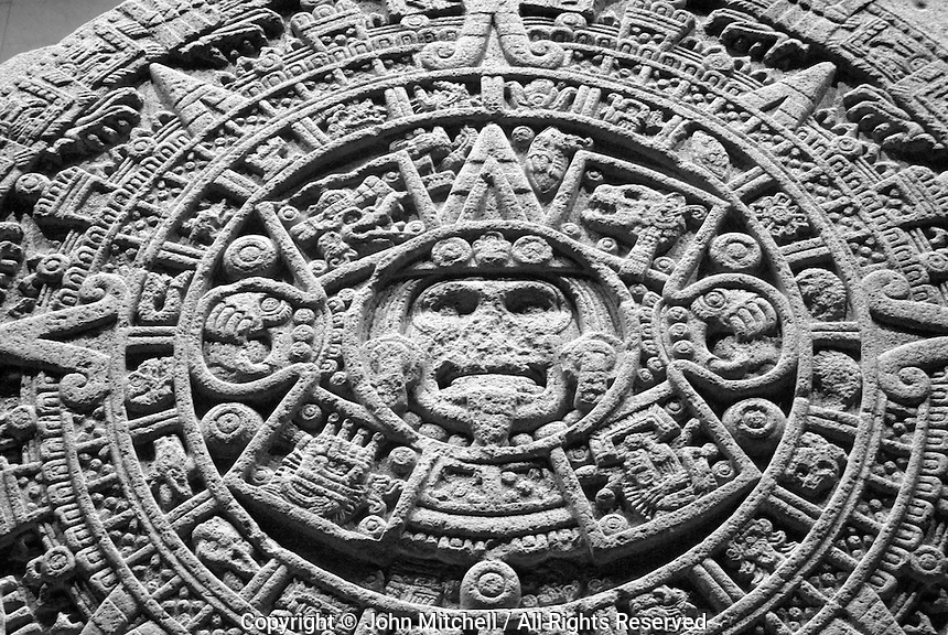 Aztec calendar or Sun Stone, Sala Mexica, National Museum of Anthropolgy, Mexico City. This calendar discovered in 1790 beneath Mexico City's Zocalo.