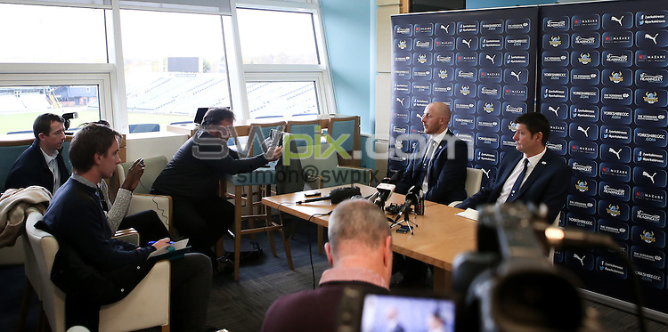 Picture by Alex Whitehead/SWpix.com - 14/11/2016 - Cricket - Yorkshire County Cricket Club - Headingley Stadium, Leeds, England - Andrew Gale and Director of Cricket Martyn Moxon speak at the press conference as he is announced as the new head coach for Yorkshire CCC.