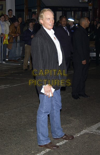 "CHARLES DANCE.""Layer Cake"" world film premiere at.Electric Cinema, Portabello Road, Notting Hill.London 23 September 2004.full length blue denim jeans black pin stripe jacket.Ref: PL.www.capitalpictures.com.sales@capitalpictures.com.©Capital Pictures."