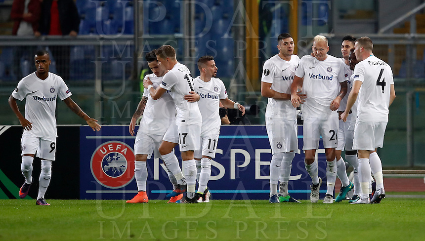 Calcio, Europa League, Gguppo E: Roma vs Austria Vienna. Roma, stadio Olimpico, 20 ottobre 2016.<br /> Austria Wien's Raphael Holzhauser, third from right, celebrates with teammates after scoring during the Europa League Group E soccer match between Roma and Austria Wien, at Rome's Olympic stadium, 20 October 2016. The game ended 3-3.<br /> UPDATE IMAGES PRESS/Isabella Bonotto