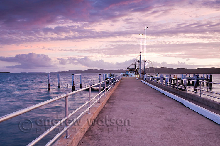 View along Engineers Wharf at dusk.  Thursday Island, Torres Strait Islands, Queensland, Australia
