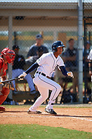 Detroit Tigers Adonis Figuereo (26) at bat during an Instructional League game against the Philadelphia Phillies on September 19, 2019 at Tigertown in Lakeland, Florida.  (Mike Janes/Four Seam Images)