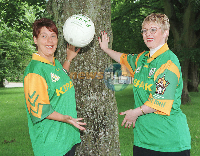 Caroline Clinton wearing the old Meath Jersey and Samantha Reid wearing the new Meath Jersey which went on sale yesterday Before the Louth v Meath Match in Croke park...Pic Fran Caffrey / Newsfile