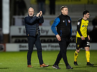 Bolton Wanderers' manager Keith Hill (left)  applauds his side's travelling supporters at the end of the match <br /> <br /> Photographer Andrew Kearns/CameraSport<br /> <br /> The Premier League - Leicester City v Aston Villa - Monday 9th March 2020 - King Power Stadium - Leicester<br /> <br /> World Copyright © 2020 CameraSport. All rights reserved. 43 Linden Ave. Countesthorpe. Leicester. England. LE8 5PG - Tel: +44 (0) 116 277 4147 - admin@camerasport.com - www.camerasport.com