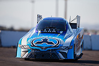 Feb 1, 2018; Chandler, AZ, USA; NHRA funny car driver Jonnie Lindberg during Nitro Spring Training pre season testing at Wild Horse Pass Motorsports Park. Mandatory Credit: Mark J. Rebilas-USA TODAY Sports