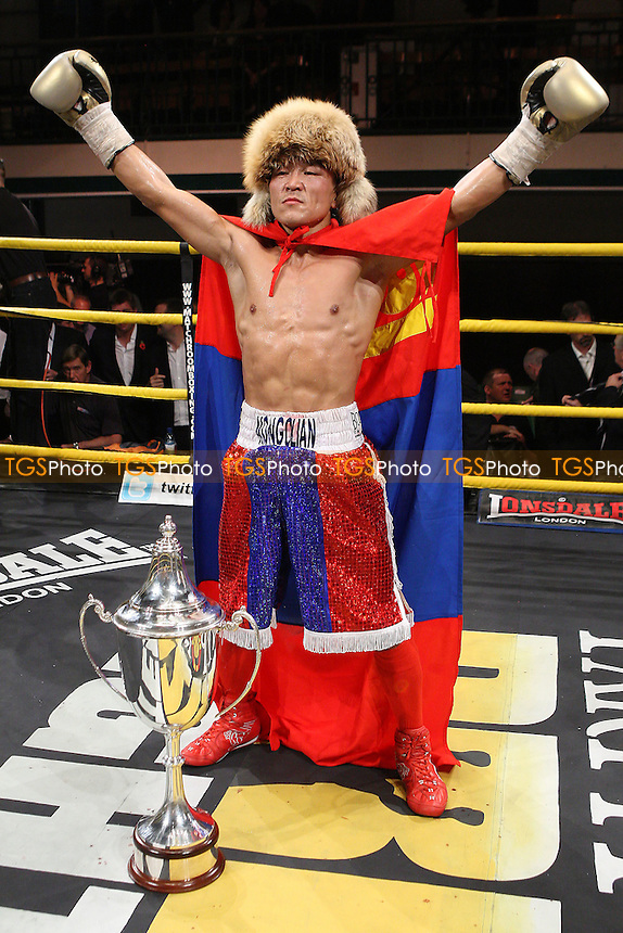 Choi Tseveenpurev defeats Rhys Roberts to win the Final of Prizefighter Featherweights Boxing at York Hall, Bethnal Green promoted by Matchroom Sports - 29/10/11 - MANDATORY CREDIT: Gavin Ellis/TGSPHOTO - Self billing applies where appropriate - 0845 094 6026 - contact@tgsphoto.co.uk - NO UNPAID USE..