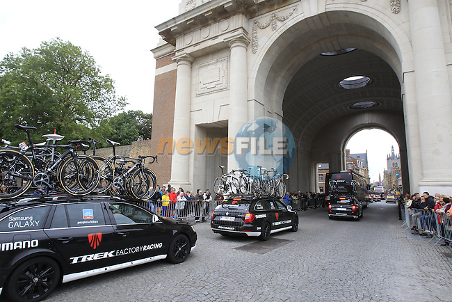 Trek Factory Racing team arrive in Ypres through the Menin Gate for the start of the cobbled stage Stage 5 of the 2014 Tour de France running 155.5km from Ypres to Arenberg. 9th July 2014.<br /> Picture: Eoin Clarke www.newsfile.ie