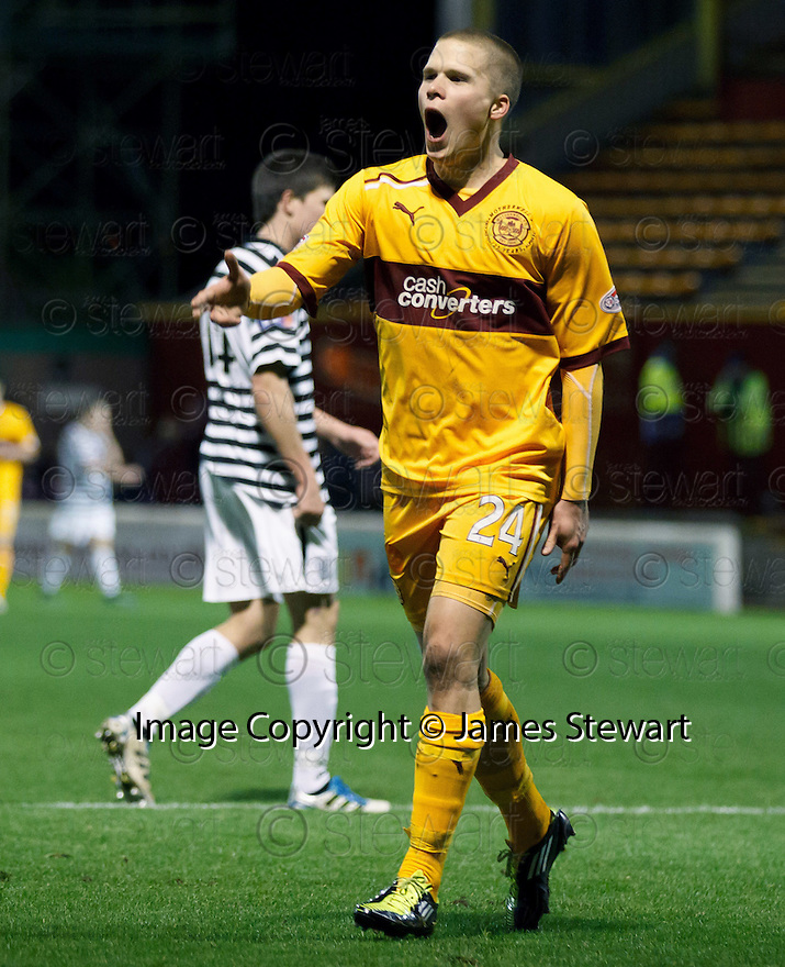 MOTHERWELL'S HENRIK OJAMAA CELEBRATES AFTER HE SCORES MOTHERWELL'S FOURTH GOAL..07/01/2012 sct_jsp010_motherwell_v_queens_park     .Copyright  Pic : James Stewart.James Stewart Photography 19 Carronlea Drive, Falkirk. FK2 8DN      Vat Reg No. 607 6932 25.Telephone      : +44 (0)1324 570291 .Mobile              : +44 (0)7721 416997.E-mail  :  jim@jspa.co.uk.If you require further information then contact Jim Stewart on any of the numbers above.........