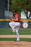 Erie SeaWolves relief pitcher Adam Ravenelle (18) delivers a warmup pitch during a game against the Akron RubberDucks on August 27, 2017 at UPMC Park in Erie, Pennsylvania.  Akron defeated Erie 6-4.  (Mike Janes/Four Seam Images)
