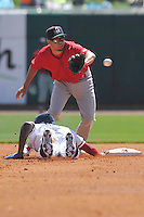 Springfield Cardinals shortstop Breyvic Valera (32) fields a throw at second base during the game against the Northwest Arkansas Naturals at Arvest Ballpark on May 4, 2016 in Springdale, Arkansas.  Springfield won 10-6.  (Dennis Hubbard/Four Seam Images)