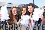 Junior Cert students from Mercy Mounthawk Secondary collecting their results on Wednesday, from left: Rachel Murphy (Ardfert), Aoife O'Connell (Ardfert) and Kelly Brosnan (Tralee)..