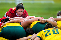 Canada captain Kelly Russell goes down for a scrum during the 2017 International Women's Rugby Series rugby match between Canada and Australia Wallaroos at Smallbone Park in Rotorua, New Zealand on Saturday, 17 June 2017. Photo: Dave Lintott / lintottphoto.co.nz
