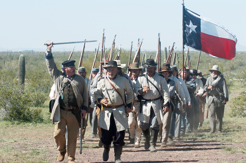 Confederate Troops reenacting the Battle of Glorieta Pass where Union troops attempted to choke off any Union access to the Sante Fe trail and consequently the SouthWest US.