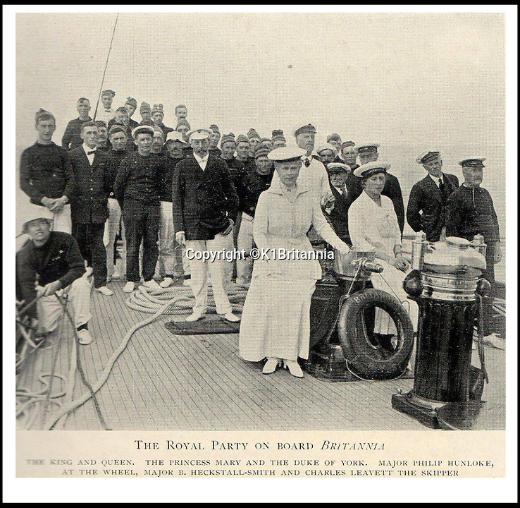 BNPS.co.uk (01202 558833)<br /> Pic: K1Britannia/BNPS<br /> <br /> ***Please Use Full Byline***<br /> <br /> A Royal Party onboard the Britannia (names along bottom). <br /> <br /> An 8 million pounds appeal has been launched to resurrect one of the most famous and best loved racing yachts of all time - the 'King's yacht' Britannia.<br /> <br /> The historic 177ft yacht was built for playboy prince Albert in 1893 and became an instant star of the sailing scene, winning 33 of 43 prestigious races  in her first year alone.<br /> <br /> The stunning Royal yacht became known the world over and enjoyed an illustrious racing career at the hands of Albert, who went on to become King Edward VII.<br /> <br /> Edward's son George V continued the love affair with Britannia, dubbed 'the King's yacht', so much so that on his death in 1936 she was deliberately sunk off the Isle of Wight.<br /> <br /> Now, 78 years on, campaigners are nearing the final stages of a project to complete an an inch-perfect replica of Britannia which has been 20 years in the making.<br /> <br /> The instantly recognisable hull is finished but around six million pounds is needed to transform it into a yacht worthy of Royalty. <br /> <br /> The yacht, which will cost an extra one million pounds a year to run, will then be taken all round the world so it can be enjoyed by charities and future generations.