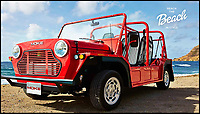 BNPS.co.uk (01202 558833)<br /> Pic: MokeAmerica/BNPS<br /> <br /> The 1960s cult-classic Mini Moke car has been reimagined as an electrically powered beach buggy. <br /> <br /> The original was based on the iconic Mini and produced as a light military vehicle but became popular among the wealthy as a runabout in tropical locations around the world.  <br /> <br /> Celebrity owners included Brigitte Bardot, Princess Margaret, Emperor Rosko and the Beach Boys.  <br /> <br /> The 21st century incarnation, the E-Moke, still boasts the same fantastic 1960s styling but is battery powered and fitted with modern luxuries such as power steering and a modern sound system. <br /> <br /> Offered in seven different colours, the electrically powered vehicle costs &pound;12,500. A gas powered version is also available for a pricier &pound;19,000.