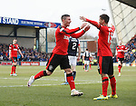 Michael O'Halloran celebrates goal no 2 with Harry Forrester