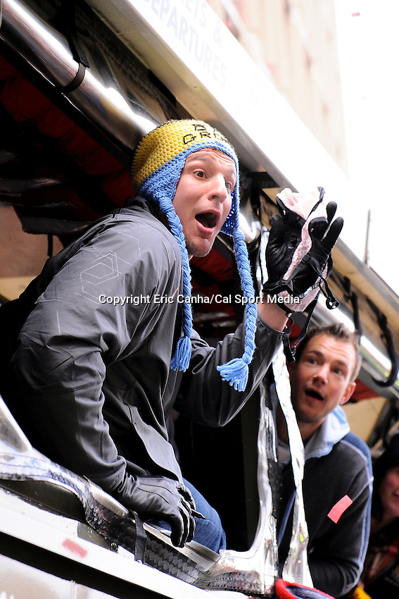 February 4, 2015 - Boston, Massachusetts, U.S. -  New England Patriots tight end Rob Gronkowski (87) reacts to getting a fan's bra during a parade held in Boston to celebrate the team's victory over the Seattle Seahawks in Super Bowl XLIX. Eric Canha/CSM