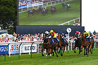 Winner of The Cara Glass Fillies' Handicap (Class 5),Excellent Sounds ridden by Charlie Bennett and trained by Hughie Morrison during Father's Day Racing at Salisbury Racecourse on 18th June 2017