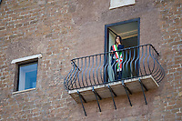 Roma, 23 Giugno, 2016. Virginia Raggi si commuove dopo essersi affacciata per la prima volta dal balcone del suo ufficio in Campidoglio. Rome's Mayor Virginia Raggi is overwhelmed by emotions as she stands on the balcony of the Campidoglio Capitol hill building overlooking the Roman forum in Rome. The 5-Star Movement candidate in Rome, Virginia Raggi, took 67.2 percent of the vote, becoming the first female mayor of Rome and, at 37, also its youngest. (Antonello Nusca/Buenavista)