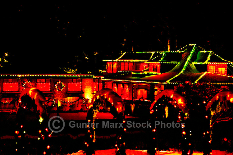 Butchart Gardens, Brentwood Bay near Victoria, Vancouver Island, BC, British Columbia, Canada - Christmas Lights and Decorations