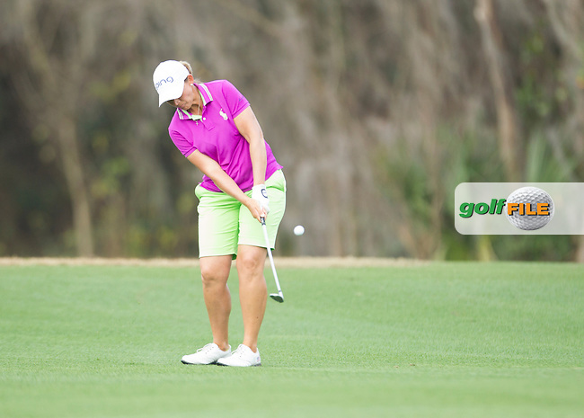Angela Stanford makes a chip shot  during the First round of the LPGA Coates Golf Championship 2016 , from the Golden Ocala Golf and Equestrian Club, Ocala, Florida. 3/2/16<br /> Picture: Mark Davison | Golffile<br /> <br /> <br /> All photos usage must carry mandatory copyright credit (&copy; Golffile | Mark Davison)