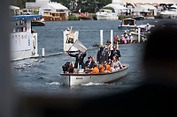 """Henley on Thames, United Kingdom, 4th July 2018, Wednesday, View,  Umpire, Richard PHELPS, raises the White flag to signal the race was raced to his satisfaction, first day of the annual,  """"Henley Royal Regatta"""", Henley Reach, River Thames, Thames Valley, England, © Peter SPURRIER,"""