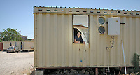 woman living  in a house-container of the Municipality of Palermo  since seven years,after being  evicted from home.<br />