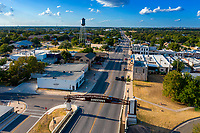 Aerial view of Mays Street, the gateway to the nightlife entertainment district in downtown Round Rock. Locals and tourist love the vibrant, walkable Downtown.