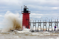 64795-02309 South Haven Lighthouse with high waves crashing South Haven,  MI
