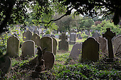 Gravestones and funereal monuments in Hampstead cemetery, which is managed by the London Borough of Camden.