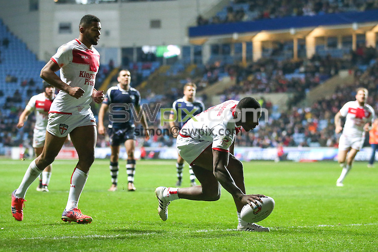 Picture by Alex Whitehead/SWpix.com - 05/11/16 - Rugby League - 2016 Ladbrokes Four Nations - England v Scotland - Ricoh Arena, Coventry, England - England's Jermaine McGillvary scores a try.