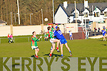 Three is a crowd as St Marys/Renard men Kieran O'Driscoll and Sean O'Shea fight it out with St Michaels/Foilmore Mark McCarthy while Fiona?n Tarrant gathers up the loose ball.