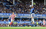 Everton's Wayne Rooney scoring his sides opening goal during the premier league match at Goodison Park, Liverpool. Picture date 12th August 2017. Picture credit should read: David Klein/Sportimage