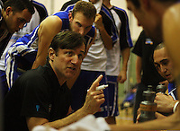 Saints coach Doug Marty talks to his team during a timeout during the NBL Round 14 match between the Manawatu Jets  and Wellington Saints. Arena Manawatu, Palmerston North, New Zealand on Saturday 31 May 2008. Photo: Dave Lintott / lintottphoto.co.nz
