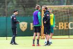 30.06.2020, Trainingsgelaende am wohninvest WESERSTADION,, Bremen, GER, 1.FBL, Werder Bremen Training, im Bild<br /> <br /> Florian Kohfeldt (Trainer SV Werder Bremen)<br /> Niclas Füllkrug / Fuellkrug (Werder Bremen #11)<br /> <br /> <br /> <br /> Foto © nordphoto / Kokenge