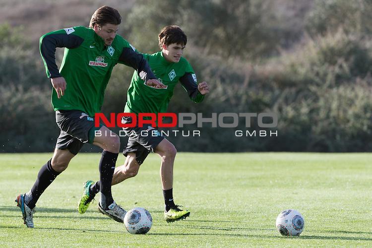 Trainingsgel&auml;nde, Jerez, ESP, 1.FBL, Trainingslager Werder Bremen 2014,  14.01.2014, <br /> <br /> Sebastian Pr&ouml;dl / Proedl (Bremen #15)<br /> Luca-Milan Zander (Bremen #39)<br /> <br /> Foto &copy; nordphoto/ Kokenge