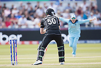 James Neesham (New Zealand) is bowled by Mark Wood during England vs New Zealand, ICC World Cup Cricket at The Riverside Ground on 3rd July 2019