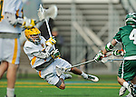 24 April 2012: University of Vermont Catamount Attackman Geoff Worley, a Senior from Coronado, CA, in action against the Dartmouth College Big Green at Virtue Field in Burlington, Vermont. The Catamounts fell to the visiting Big Green 10-5 in Men's Varsity Lacrosse action. Mandatory Credit: Ed Wolfstein Photo