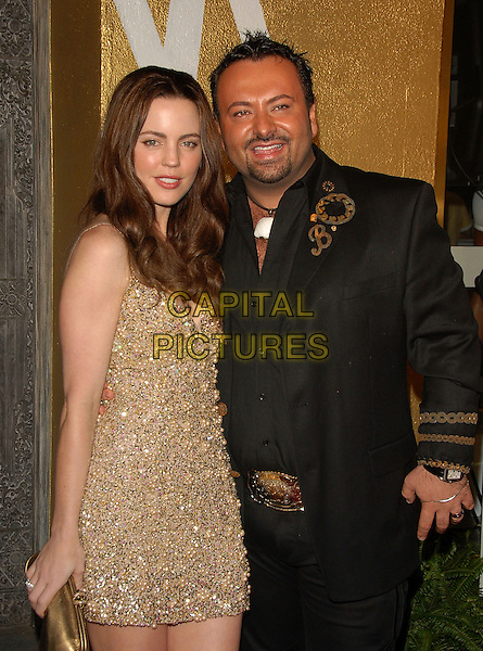 MELISSA GEORGE & NAPOLEON PERDIS.The launch of The Napoleon Perdis Hollywood Flagship Store & Makeup Academy in Hollywood, California, USA. .May 1st, 2007.half length suit jacket dress goatee facial hair gold beads beaded jewel encrusted  .CAP/DVS.©Debbie VanStory/Capital Pictures
