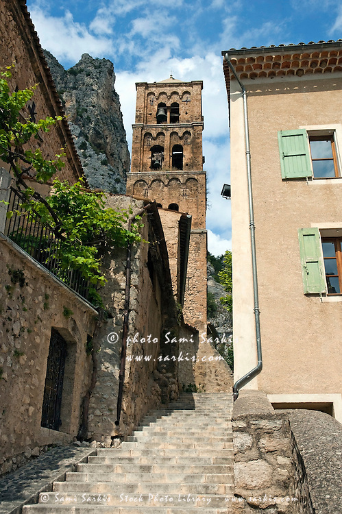 Old church bell tower in Moustiers-Sainte-Marie, Provence, France.