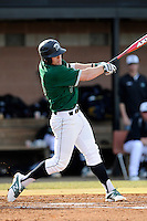 Third baseman Daniel Seeba (5) of the University of South Carolina Upstate Spartans bats in a game against the Citadel Bulldogs on Tuesday, February, 18, 2014, at Cleveland S. Harley Park in Spartanburg, South Carolina. Upstate won, 6-2. (Tom Priddy/Four Seam Images)