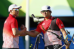 (L-R)  Kim Chung-tae, Takaharu Furukawa (JPN), <br /> AUGUST 12, 2016 - Archery : <br /> Men's Individual quarter finals <br /> at Sambodromo <br /> during the Rio 2016 Olympic Games in Rio de Janeiro, Brazil. <br /> (Photo by Yusuke Nakanishi/AFLO SPORT)