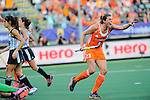 The Hague, Netherlands, June 12: Kim Lammers #23 of The Netherlands celebrates after scoring (4-0) during the second half during the field hockey semi-final match (Women) between The Netherlands and Argentina on June 12, 2014 during the World Cup 2014 at Kyocera Stadium in The Hague, Netherlands. Final score 4-0 (3-0)  (Photo by Dirk Markgraf / www.265-images.com) *** Local caption ***