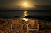 Chairs and moonset. Hawaii, The Big Isalnd.
