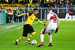 09.03.2019, Signal Iduna Park, Dortmund, GER, 1.FBL, Borussia Dortmund vs VfB Stuttgart, DFL REGULATIONS PROHIBIT ANY USE OF PHOTOGRAPHS AS IMAGE SEQUENCES AND/OR QUASI-VIDEO<br /> <br /> im Bild   picture shows:<br /> Jadon Sancho (Borussia Dortmund #7) im Duell mit Emiliano Insua (VfB Stuttgart #2), <br /> <br /> Foto &copy; nordphoto / Rauch