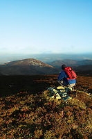 A walker looking to Newby Kipps from Hundleshope Heights above Glensax on the Glensax Horseshoe, near Peebles, Scottish Borders<br /> <br /> Copyright www.scottishhorizons.co.uk/Keith Fergus 2011 All Rights Reserved