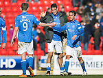 St Johnstone v Dundee....11.04.15   SPFL<br /> Brian Graham and Chris Millar celebrate finishing in the top six with Steven MacLean<br /> Picture by Graeme Hart.<br /> Copyright Perthshire Picture Agency<br /> Tel: 01738 623350  Mobile: 07990 594431