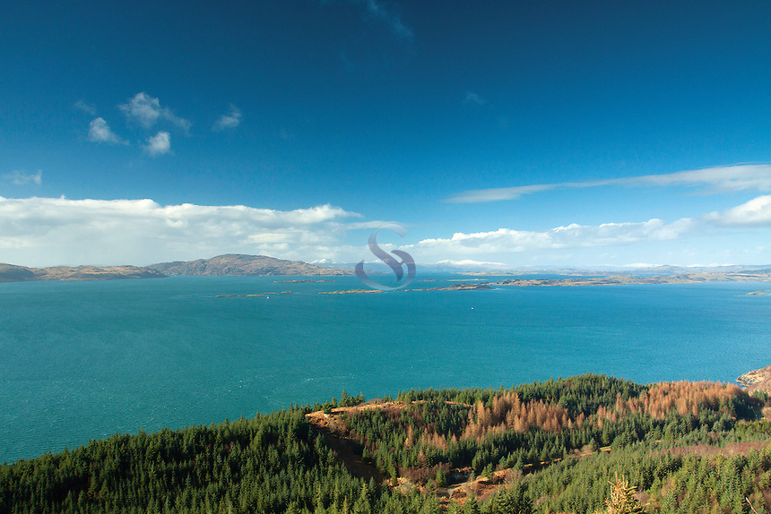 The Sound of Jura, Scarba and Mull from Castle Dounie above Crinan, Argyll & Bute
